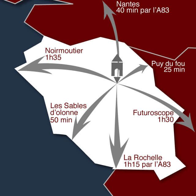 situation du logis du parc au coeur de la vendée près du puy du fou mais aussi de Nantes - des sables d'Olonne - de noirmoutier