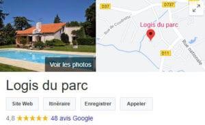 Le logis du Parc - Avis Google